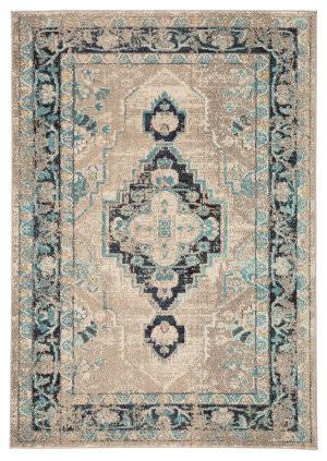 Famous Maker Amazi Marin Amz-1080 Turquoise - Taupe Area Rug