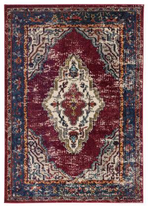 Famous Maker Amazi Jana Amz-1120 Maroon - Blue Area Rug