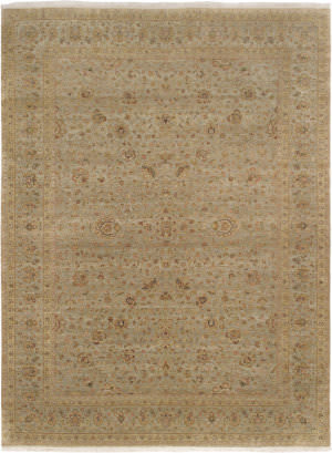Famous Maker Tabriz P-122 Green Area Rug