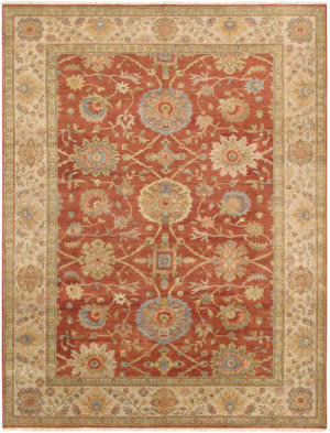Famous Maker Sultanabad Pae-11 Rust - Ivory Area Rug