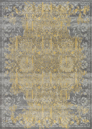 Famous Maker Chelsea Rc-5523 Grey - Gold Area Rug