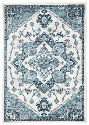 Famous Maker Valarie Wayra Val-1070 Turquoise - White Area Rug