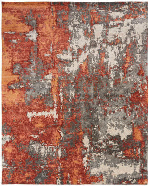 Famous Maker Zara 100517 Rust - Steel Area Rug