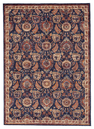 Feizy Hammond 3509f Blue - Rust Area Rug
