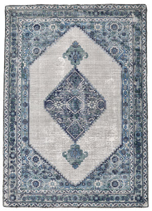 Feizy Bethania 8747f Blue - White Area Rug
