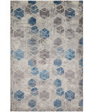 HRI Sunbrella 600 S6-02 Grey - Dark Blue Area Rug