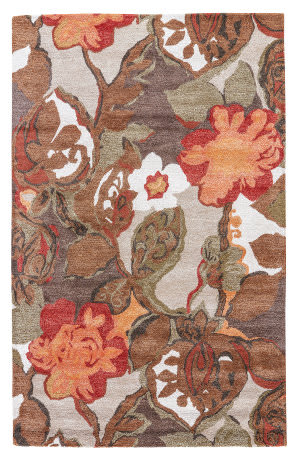 Jaipur Living Blue Petal Pusher BL12 Mahogany - Apricot Orange Area Rug