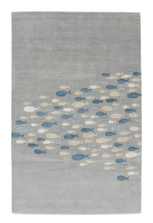 Jaipur Living Coastal Resort Schooled COR03 Celestial Blue - Snow White Area Rug