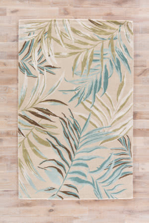 Custom Jaipur Living Coastal Resort Peninsula Cor29 Cream - Blue Area Rug