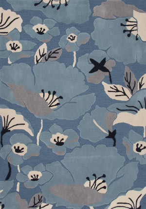 Jaipur Living Flora Shoot Flo01 Blue Heaven - Pearled Ivory Area Rug