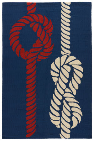 Jaipur Living Grant I-O Knotty Gd46 Nautical Blue - Tomato Area Rug