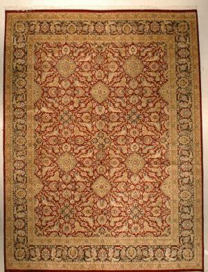J. Aziz Shah Abbas 1628 Dark Red/Black Area Rug