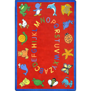 Joy Carpets Kid Essentials Abc Animals Red Area Rug