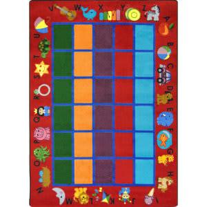 Joy Carpets Kid Essentials Alphabet Phonics Red Area Rug