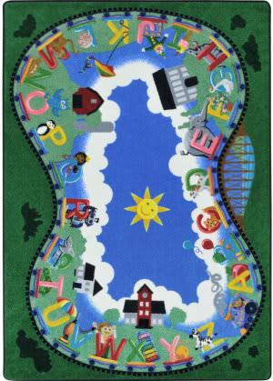 Joy Carpets Kid Essentials Alphabet Railway Multi Area Rug