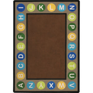 Joy Carpets Kid Essentials Alphabet Spots Earthtone Area Rug