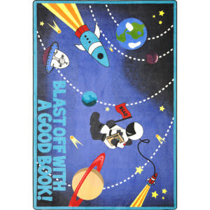 Joy Carpets Kid Essentials Blast Off With A Good Book Multi Area Rug