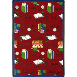 Joy Carpets Kid Essentials Bookworm Red Area Rug