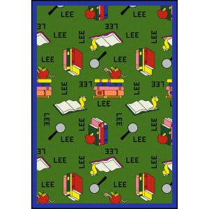Joy Carpets Kid Essentials Bookworm Spanish Green Area Rug