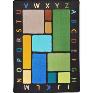 Joy Carpets Kid Essentials Building Blocks Earthtone Area Rug