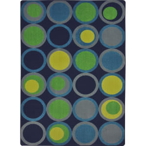 Joy Carpets Kid Essentials Circle Back Navy Area Rug