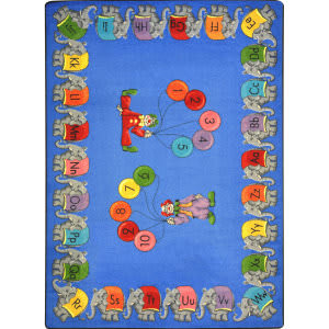 Joy Carpets Kid Essentials Circus Elephant Parade Multi Area Rug