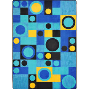 Joy Carpets Kid Essentials City Block Blue Area Rug