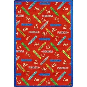Joy Carpets Playful Patterns Crayons Red Area Rug