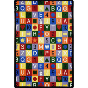 Joy Carpets Playful Patterns Edu-Squares Multi Area Rug
