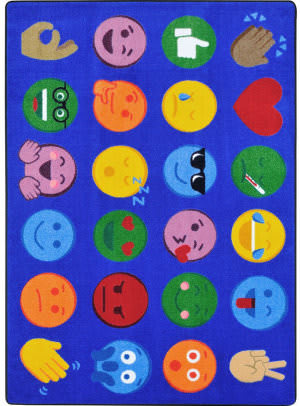 Joy Carpets Kid Essentials Emoji Expressions Multi Area Rug