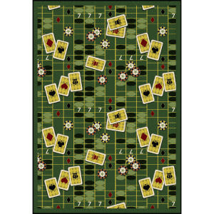 Joy Carpets Games People Play Feeling Lucky Emerald Area Rug