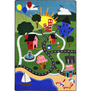 Joy Carpets Kid Essentials Happy Town Multi Area Rug