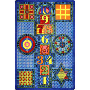 Joy Carpets Kid Essentials Games Galore Sapphire Area Rug