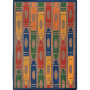 Joy Carpets Playful Patterns Jumbo Crayons Earthtone Area Rug