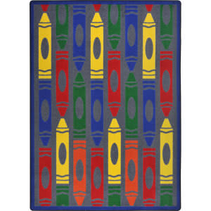 Joy Carpets Playful Patterns Jumbo Crayons Rainbow Area Rug