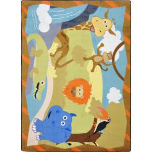 Joy Carpets Kid Essentials Jungle Babies Multi Area Rug