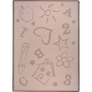 Joy Carpets Playful Patterns Kid's Art Beige Area Rug