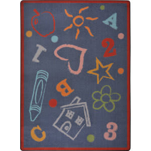 Joy Carpets Playful Patterns Kid's Art Chalkdust Area Rug