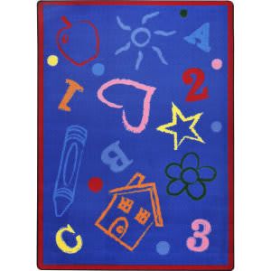 Joy Carpets Playful Patterns Kid's Art Rainbow Area Rug