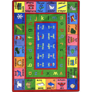 Joy Carpets Kid Essentials Lengualink French Multi Area Rug
