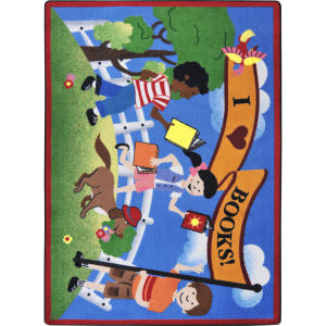 Joy Carpets Kid Essentials Library Day Multi Area Rug