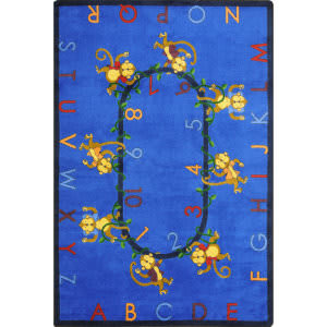 Joy Carpets Kid Essentials Monkey Business Blue Area Rug