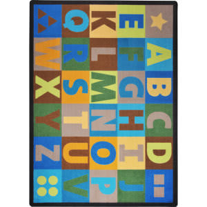 Joy Carpets Kid Essentials Oversize Alphabet Earthtone Area Rug