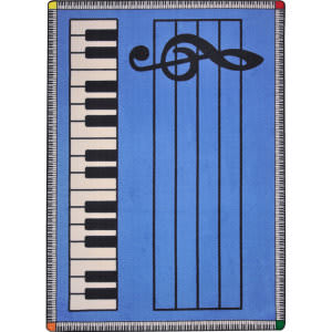 Joy Carpets Kid Essentials Play Along Blue W/ Keys Area Rug