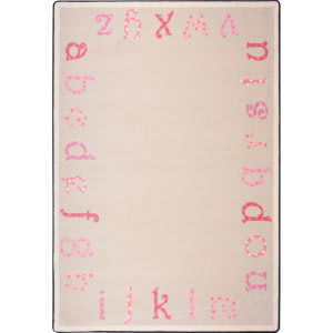 Joy Carpets Kid Essentials Polka Dot Abc's Pink Area Rug