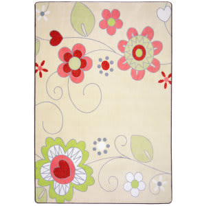 Joy Carpets Kid Essentials Pretty Posies Multi Area Rug