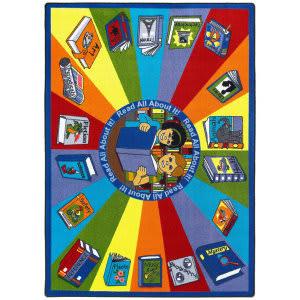 Joy Carpets Kid Essentials Read All About It Multi Area Rug