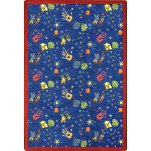 Joy Carpets Playful Patterns Scribbles Blue Area Rug