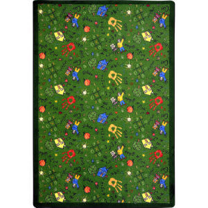 Joy Carpets Playful Patterns Scribbles Green Area Rug