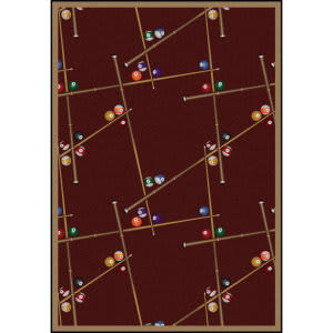 Joy Carpets Games People Play Snookered Burgundy Area Rug